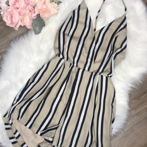 Tea & Cup T strap Backless Striped Romper